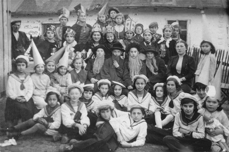 Bais Yaakov Students in Kolbuszowa Performing a Purim Play