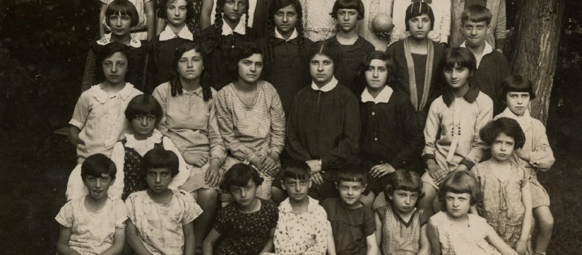 Students from the Bais Yaakov educational network in a vacation activities program in March 1929. The program was called Yehudis.