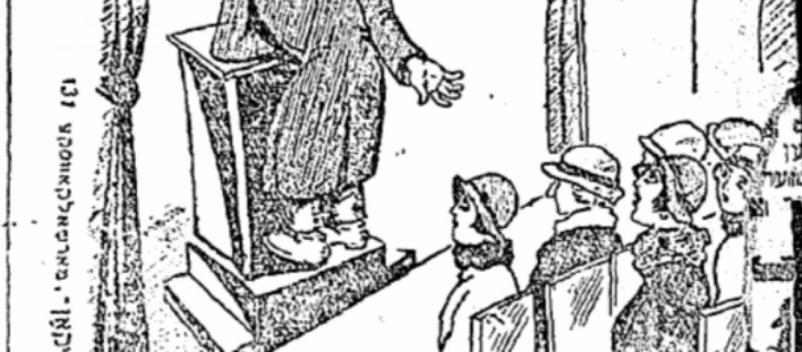 Cartoon accompanying the satirical article, referencing the Orthodox rule against men looking at women.