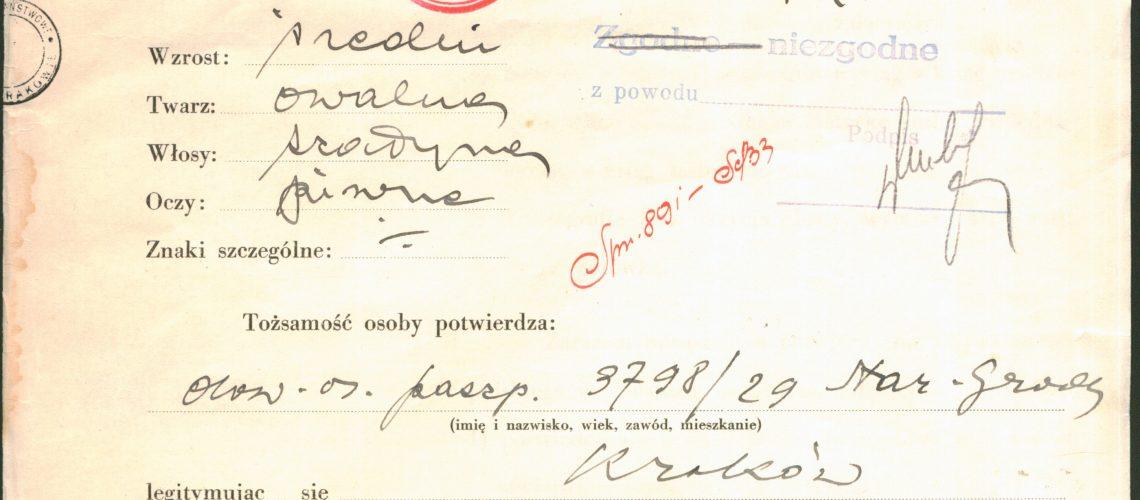 Sarah Schenirer's application for an identification card [National Archives Kraków, call number: STGKR 990].