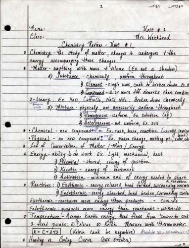 Chemistry Handouts